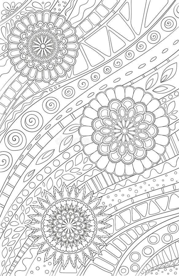 Крася страница для книжка-раскраски взрослого и детей или журнала пули Цветочный узор Doodle с цветками и геометрическими линиями иллюстрация штока