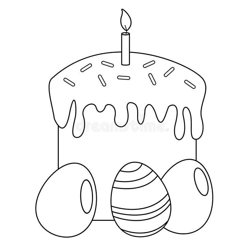 Крася страница Торт пасхи и пасхальные яйца бесплатная иллюстрация