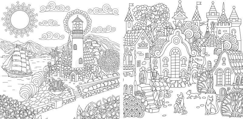 Крася страницы с ландшафтами городка бесплатная иллюстрация