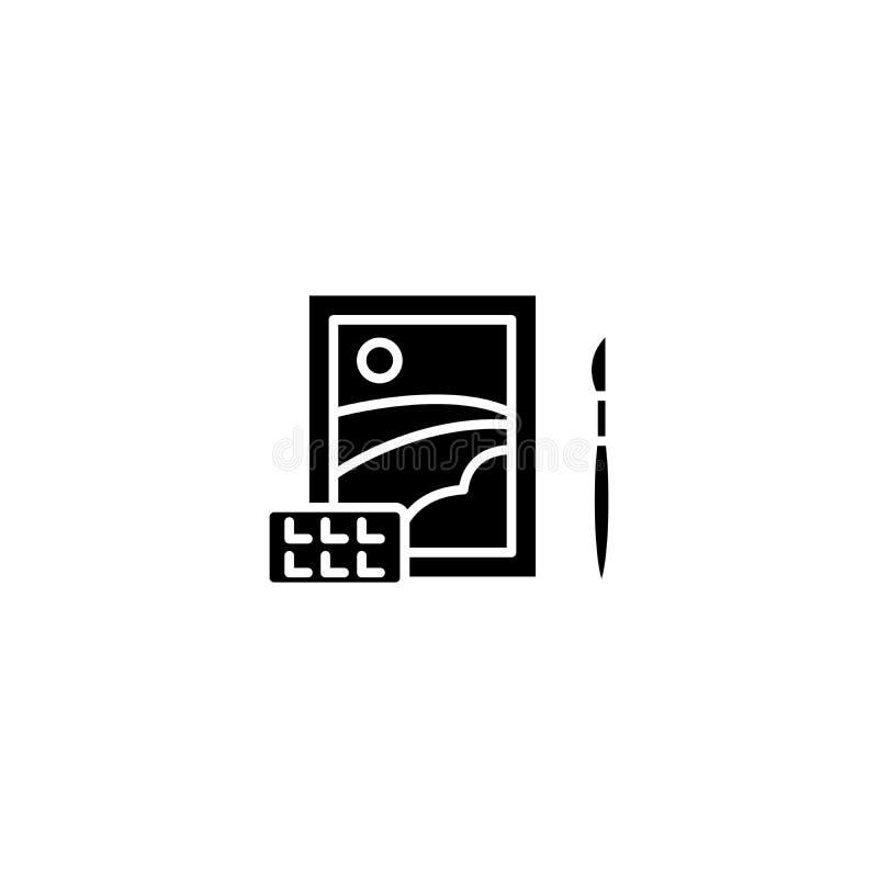 Крася черная концепция значка Крася плоский символ вектора, знак, иллюстрация бесплатная иллюстрация