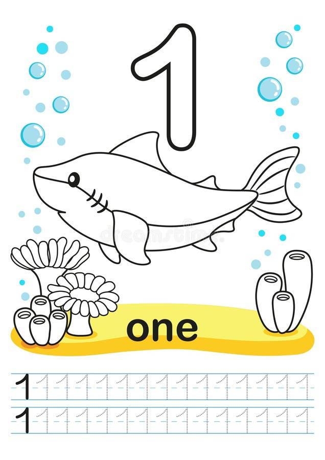 Крася printable рабочее лист для детского сада и preschool Мы тренируем для записи номеров Тренировки математики Яркие диаграммы  иллюстрация вектора