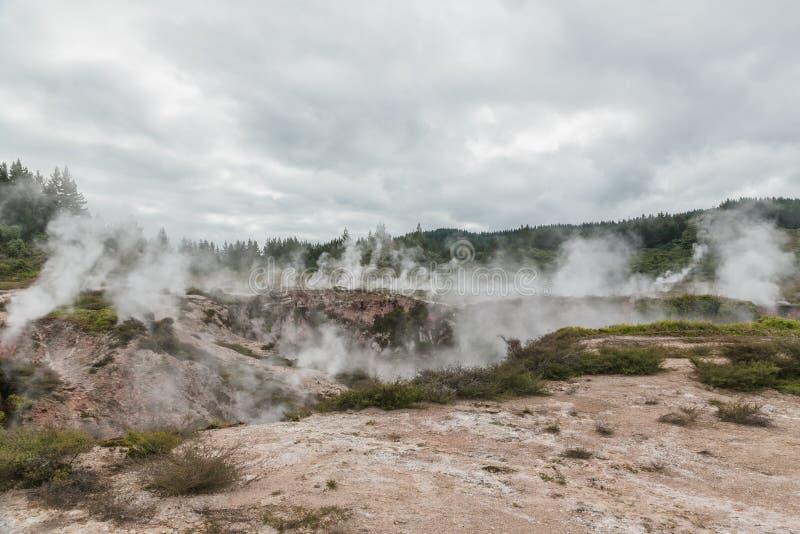 Кратеры луны - геотермической прогулки расположенной как раз к северу от Taupo Прогулка отличает кратерами грязи, испаряясь с гео стоковые фотографии rf