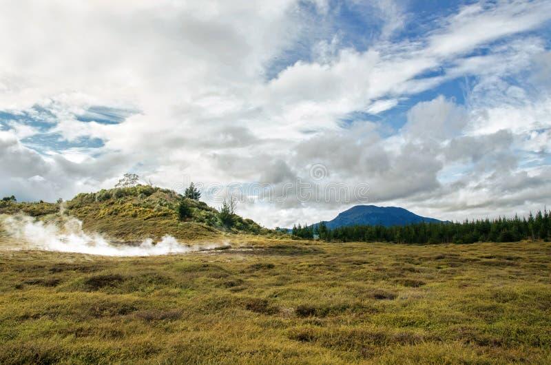 Кратеры луны геотермическая прогулка расположенная как раз к северу от Taupo стоковое фото rf