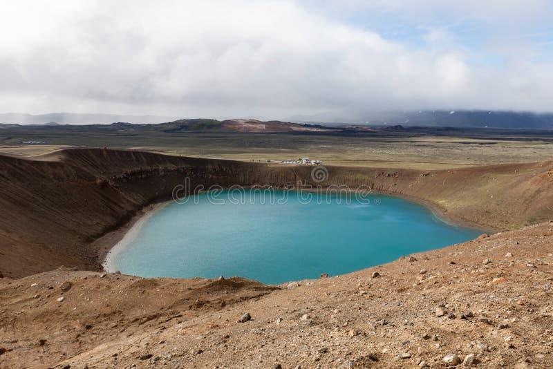 Кратер Viti, зона Krafla вулканическая, Myvatn стоковые изображения rf