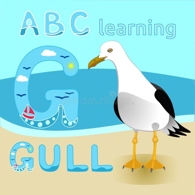 Краткость вектора чайки персонажа из мультфильма птицы чайки замкнула фауну пляжа моря альбатроса большую для иллюстрации детей,  иллюстрация штока