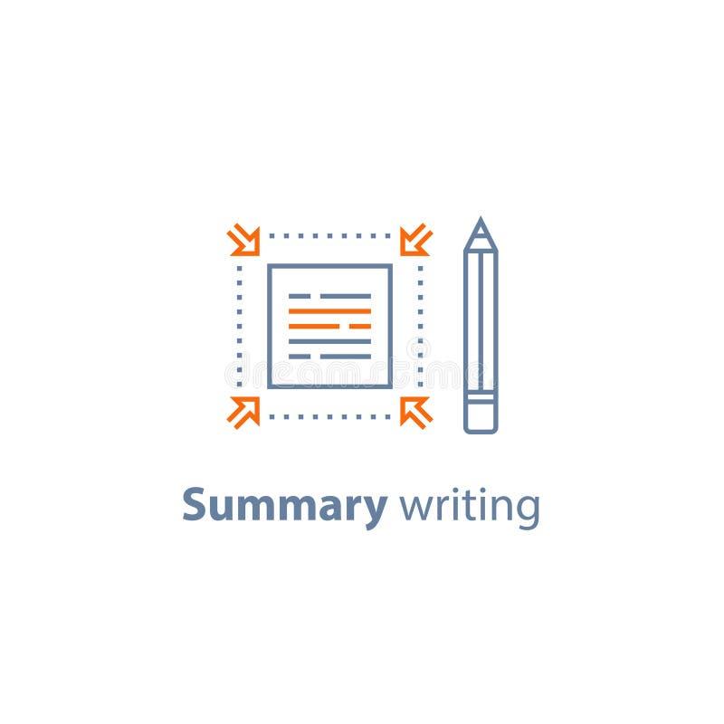 Кратко информация, текст редактирует, общая концепция сочинительства, краткость и быстрое чтение, copywriting обслуживания, линия бесплатная иллюстрация
