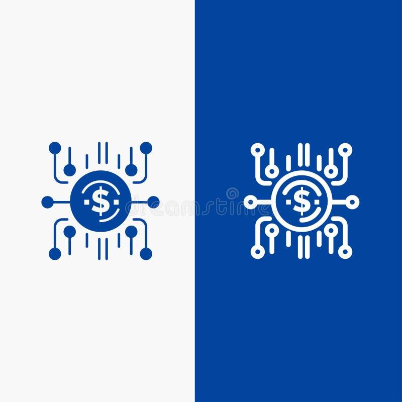 Крауд-фонд, Краудское финансирование, продажа толпы, продажа толпы, Линия финансирования и Глиф Solid icon Синяя баннерная линия  иллюстрация вектора