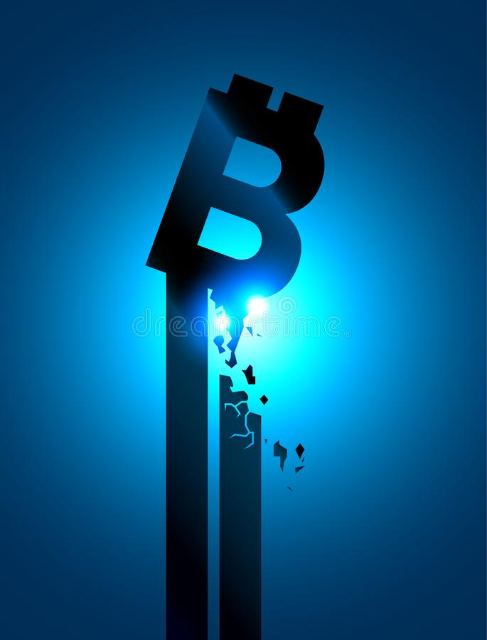 Крах валюты цифров, обесценивает Символ аварии bitcoin Падение монетки бита знака Концепция технологии цепи делового квартала иллюстрация вектора