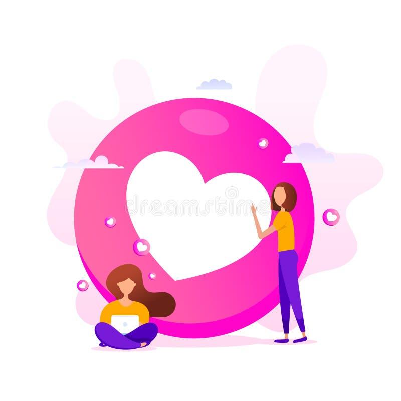 Креативная иллюстрация формы смайликов любви с маленькими девушками, использующими компьютер на розовом фоне иллюстрация штока