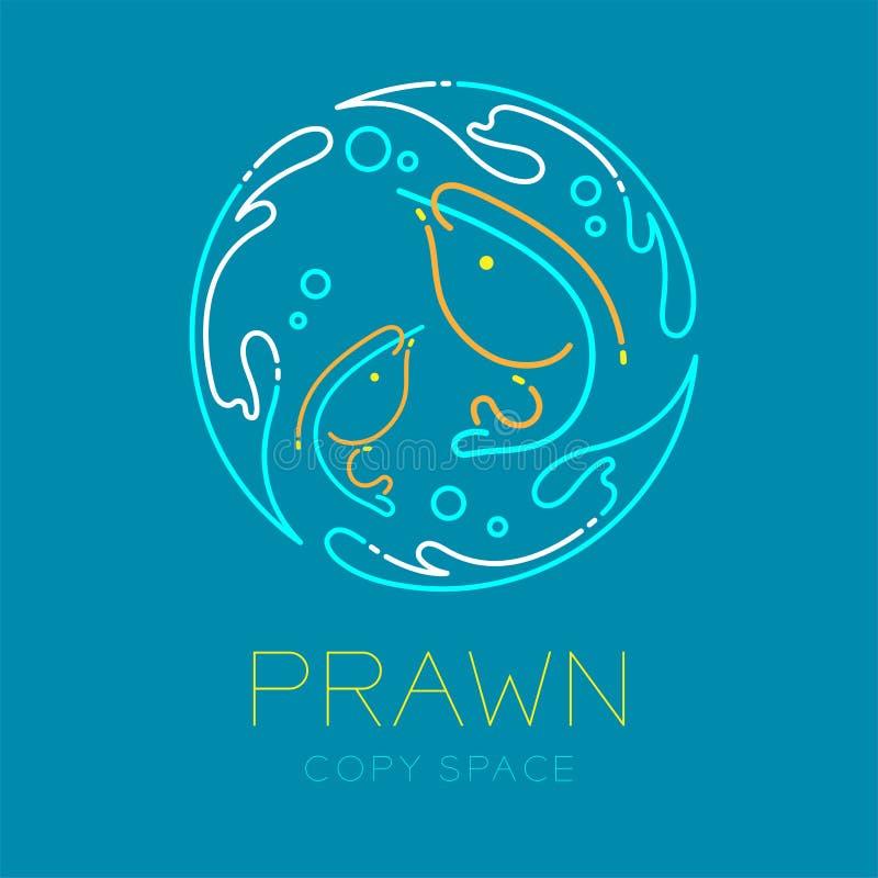 Креветка или креветка, выплеск воды форма рамки круга и логотип воздушного пузыря штриховой пунктир хода плана значка установленн бесплатная иллюстрация
