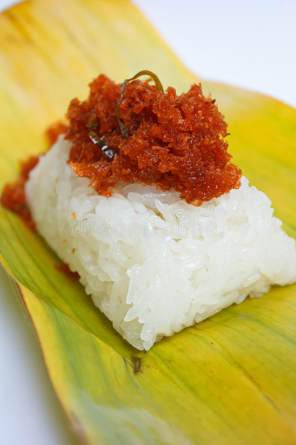 Креветка и кокос клока на липком рисе. стоковое изображение