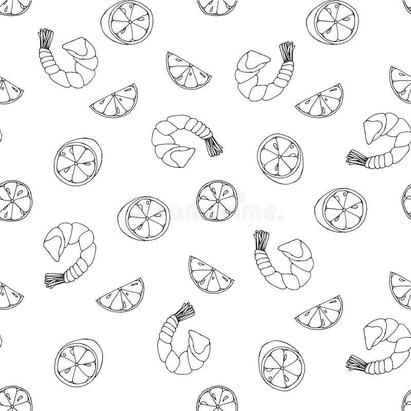 Креветка морепродуктов, картина эскиза куска лимона креветки безшовная, объекты изолированные на белизне для сети иллюстрация штока