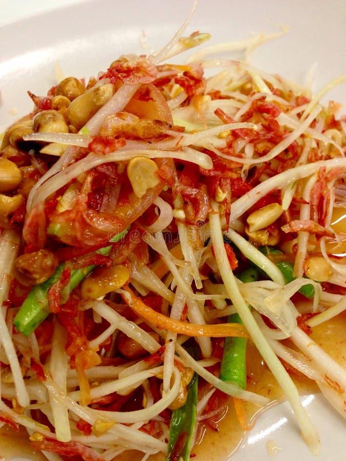 Креветка папапайи положенная салатом высушенная стоковые изображения