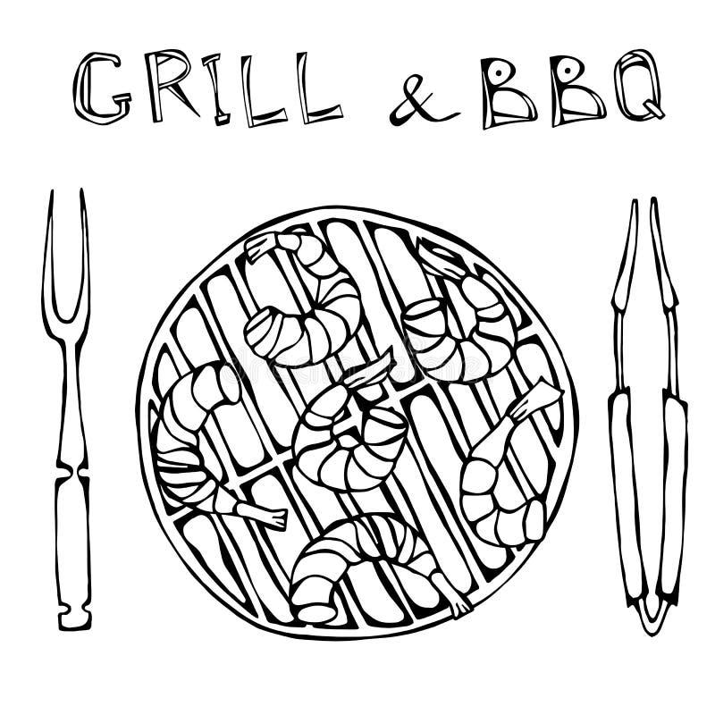 Креветки Kebab на гриле BBQ с схватами и вилкой Партия лета барбекю морепродуктов Prewen на гриле Реалистическая нарисованная рук бесплатная иллюстрация