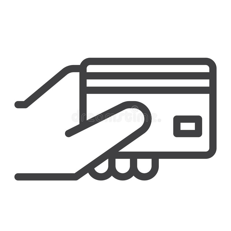 Кредитная карточка в линии руки значке иллюстрация штока
