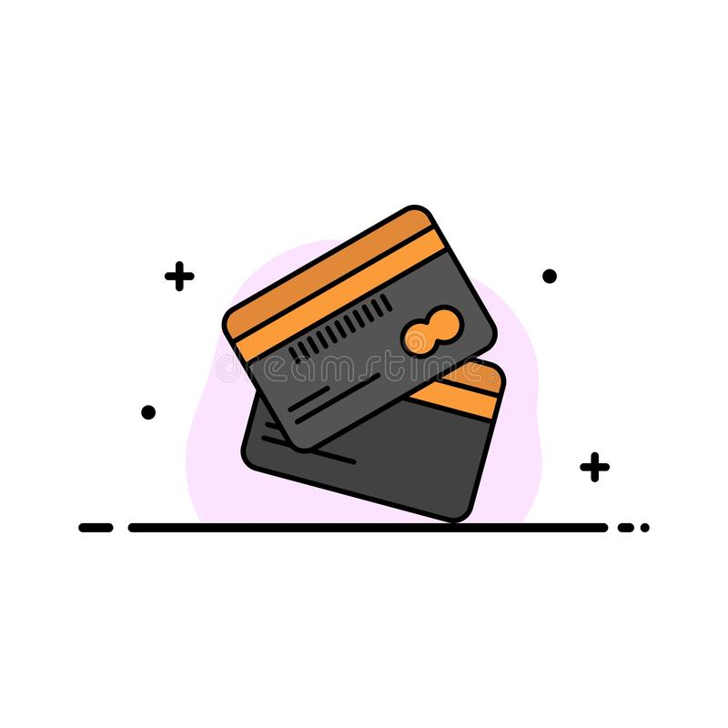 Кредитная карточка, дело, карты, кредитная карточка, финансы, деньги, линия дела покупок плоская заполнила шаблон знамени вектора бесплатная иллюстрация