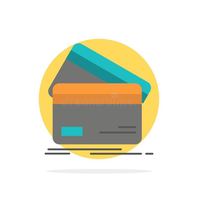 Кредитная карточка, дело, карты, кредитная карточка, финансы, деньги, предпосылки круга покупок значок цвета абстрактной плоский иллюстрация штока