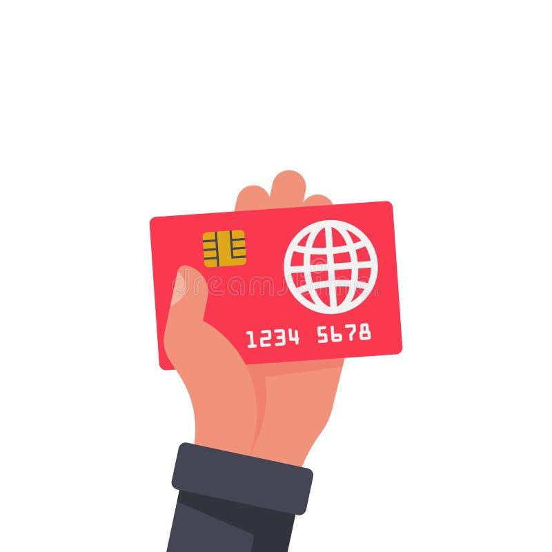 Кредитная карточка держа в руке Оплачивать знака иллюстрация штока
