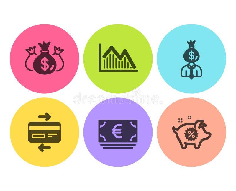 Кредитная карточка, диаграмма менеджера и вклада набор значков Проверите вклад, валюту евро и Piggy знаки продажи r иллюстрация вектора