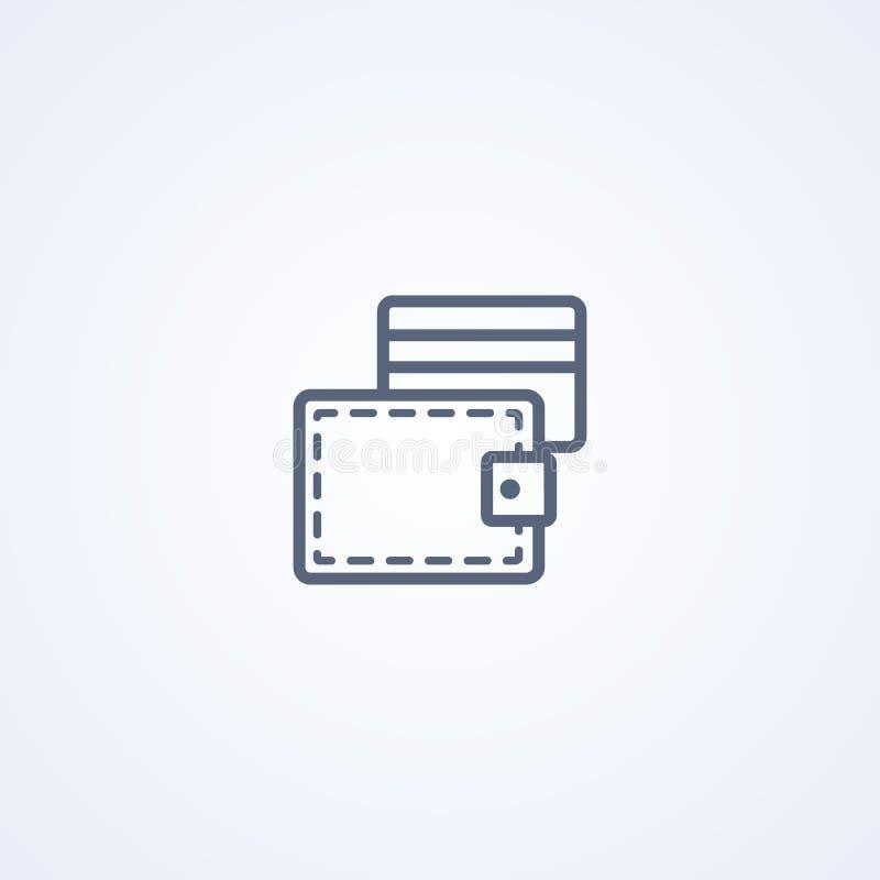 Кредитная карточка, линия значок вектора самая лучшая серая иллюстрация штока