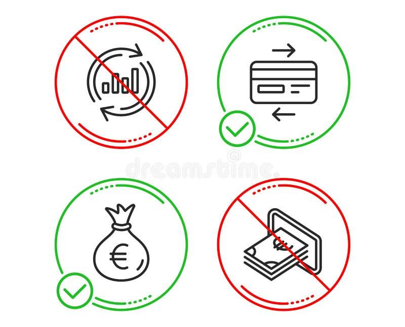 Кредитная карточка, сумка денег и данные по обновления набор значков r Оплата банка, валюта евро, диаграмма продаж r иллюстрация вектора
