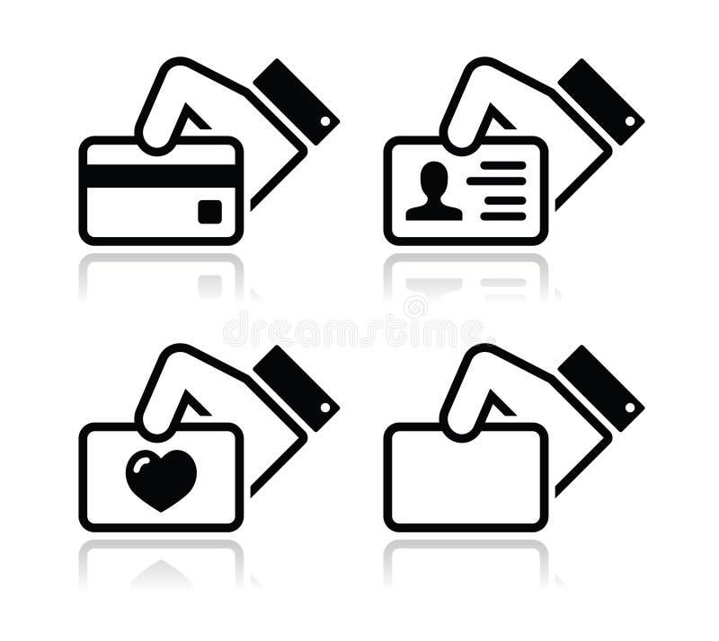 Кредитная карточка удерживания руки, иконы визитной карточки иллюстрация штока