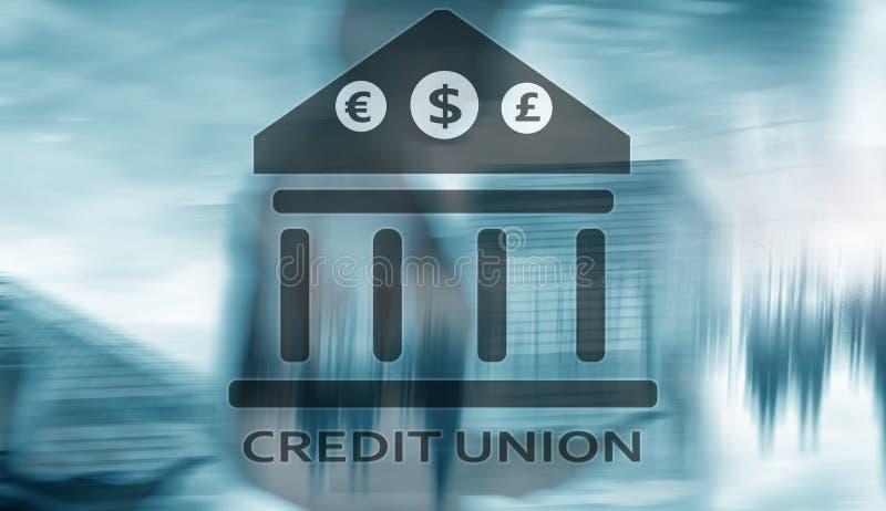 Кредитный союз Финансовые обслуживания кооперативных банков Предпосылка конспекта финансов стоковая фотография
