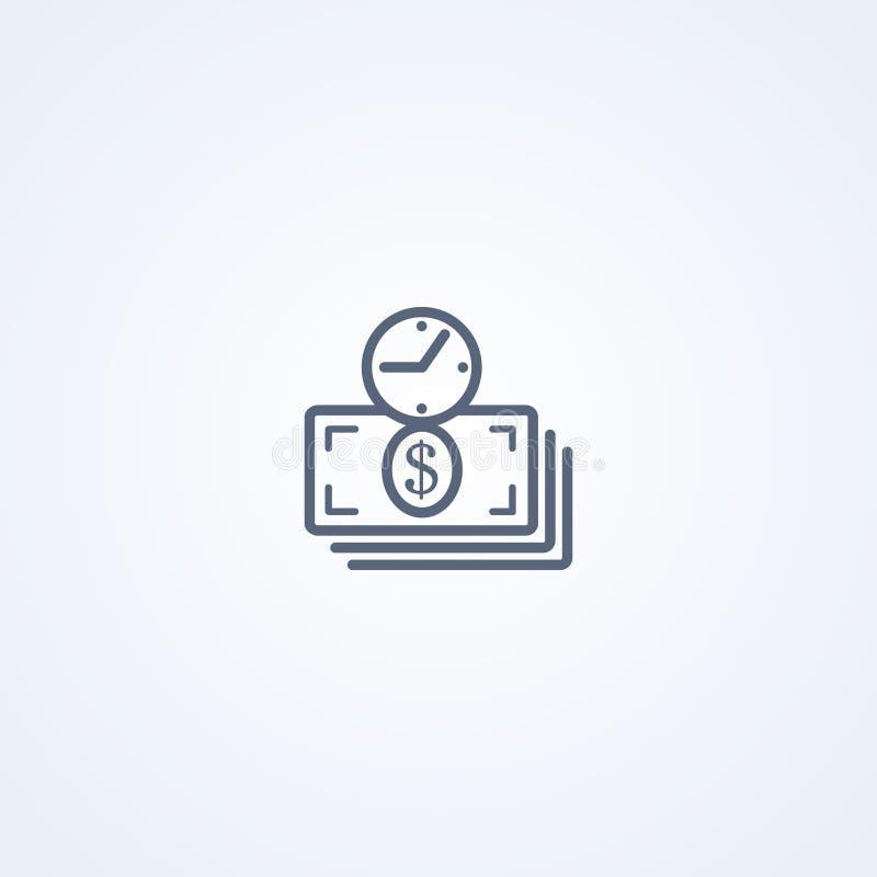 Кредит, время денег, линия значок вектора самая лучшая серая бесплатная иллюстрация