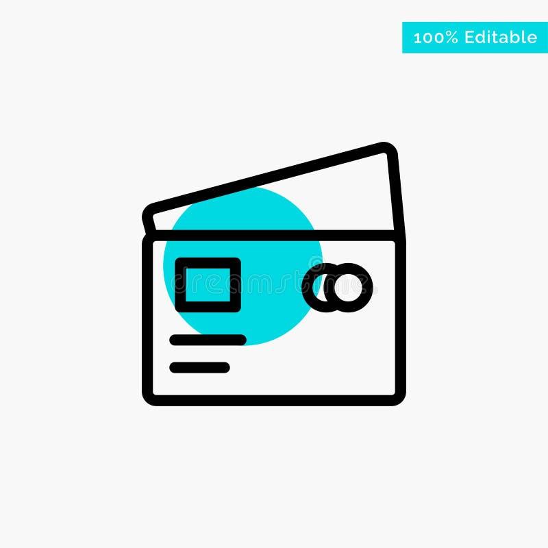 Кредит, дебит, глобальный, оплата, значок вектора пункта круга самого интересного бирюзы покупок иллюстрация штока