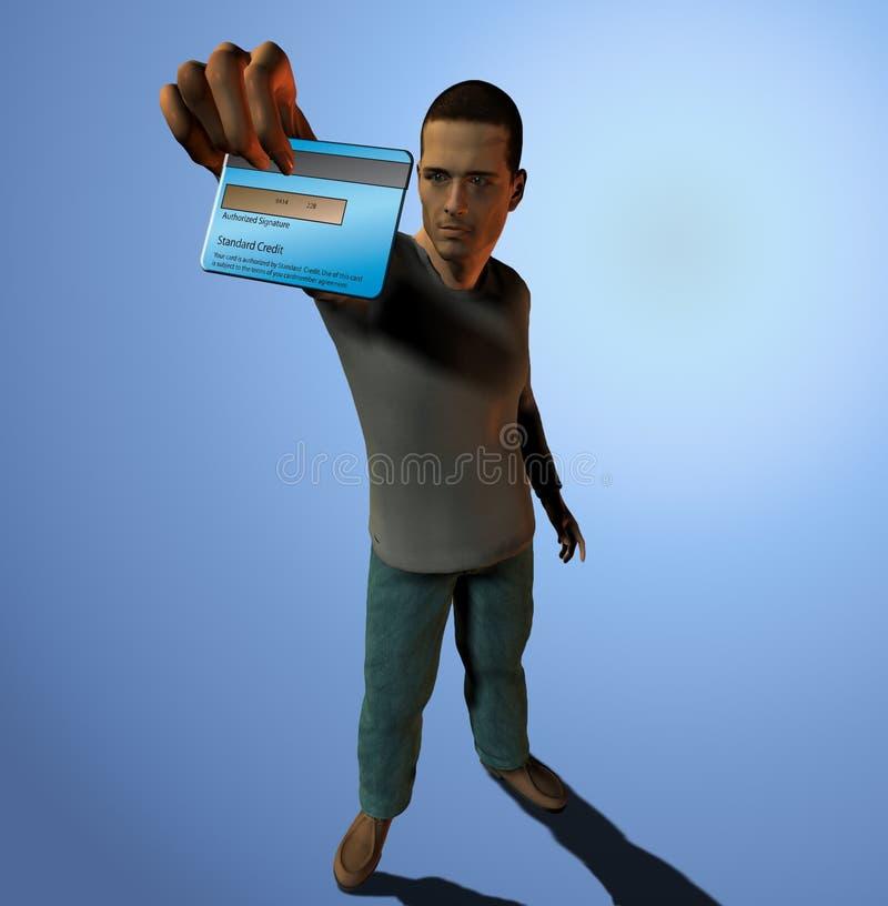 кредит карточки держит человека вне иллюстрация штока