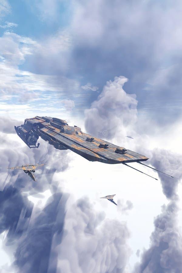 Крейсер и бойцы космического корабля над облаками иллюстрация штока