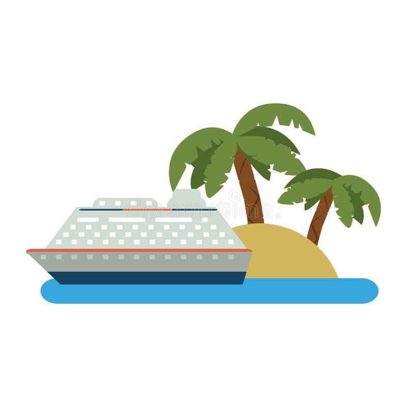 Крейсер на острове бесплатная иллюстрация