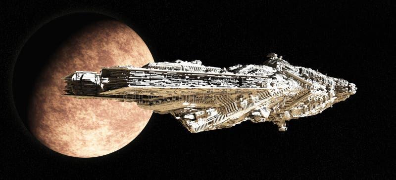 крейсер сражения покидая орбита иллюстрация штока