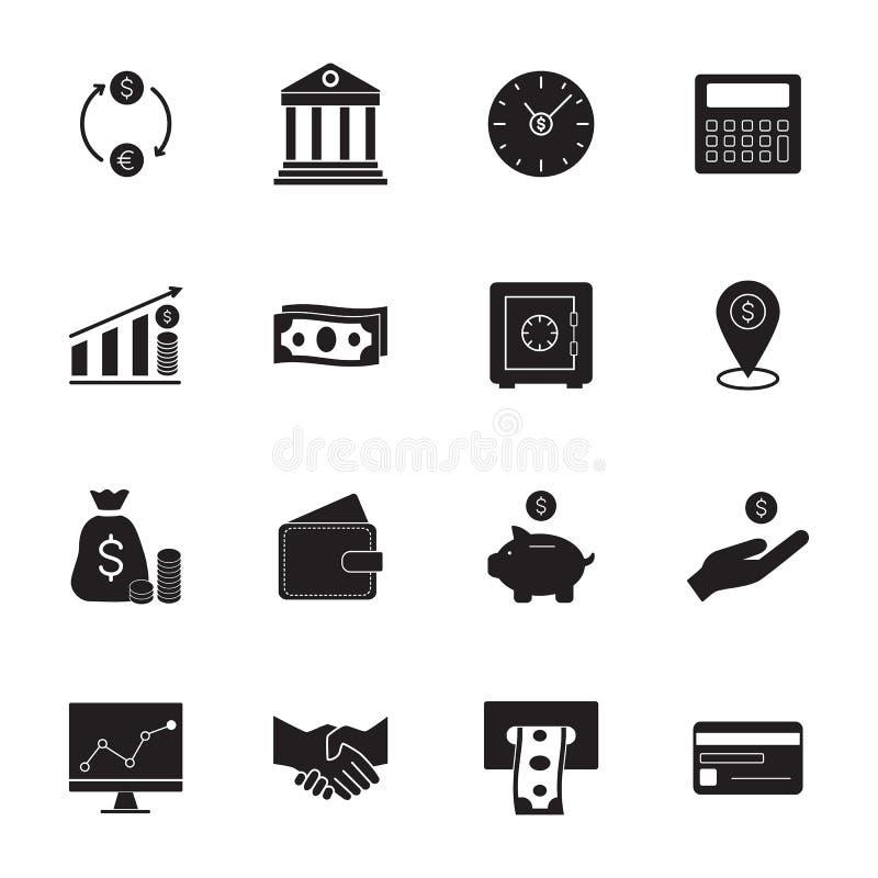 кренить вектор иллюстрации икон финансов Простые установленные значки денег иллюстрация штока