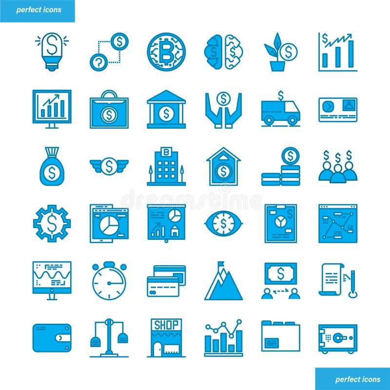 Кренить и финансовыми голубыми установленный значками стиль иллюстрация вектора
