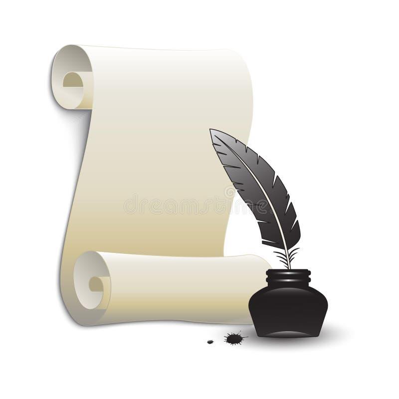 Крен бумаги и пера в чернильнице иллюстрация штока