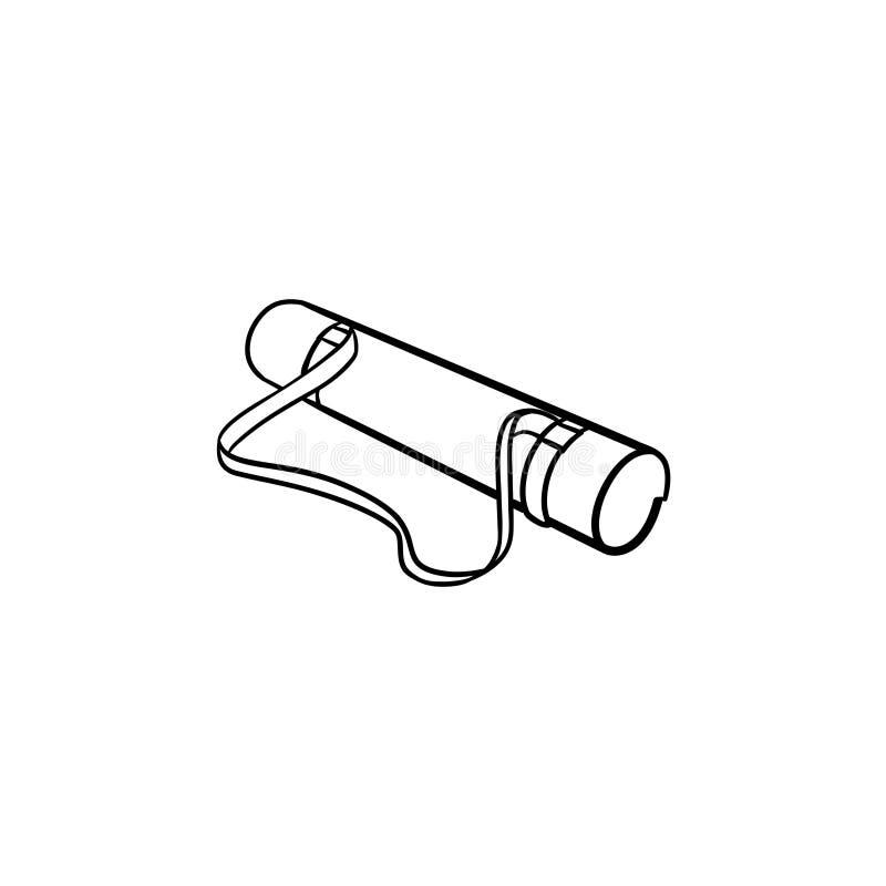 Крен располагаясь лагерем значка doodle плана ковра нарисованного рукой иллюстрация вектора