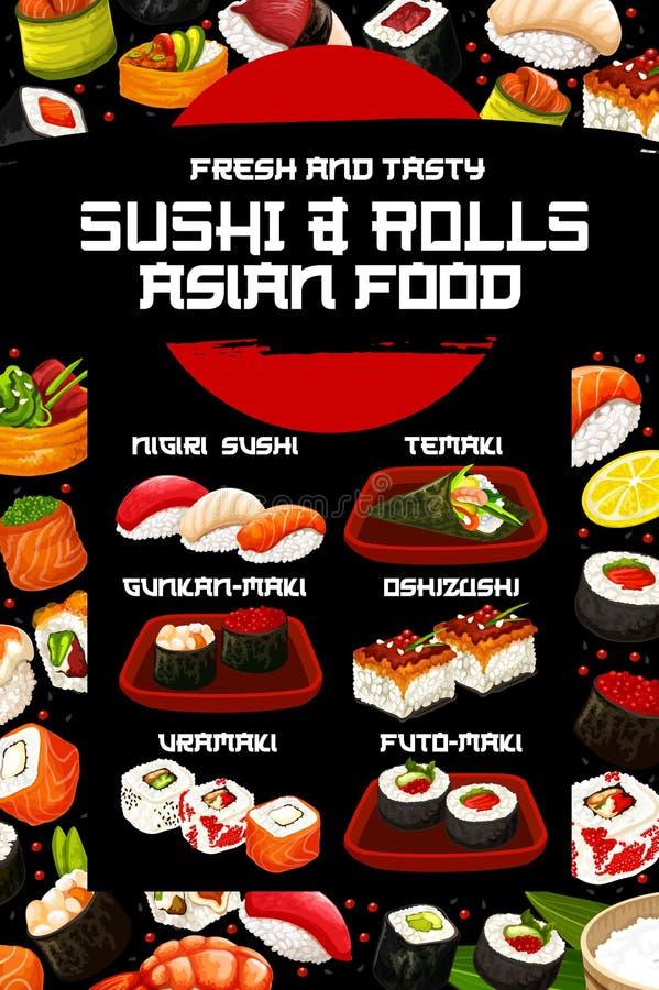 Крен суш, nigiri, temaki, uramaki Японская кухня бесплатная иллюстрация