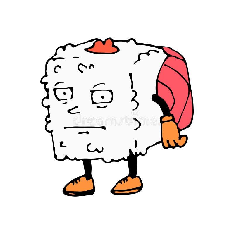 Крен характера Шарж эскиза равнодушие изображение изолированное вектором икона Азиатский ресторан иллюстрация штока