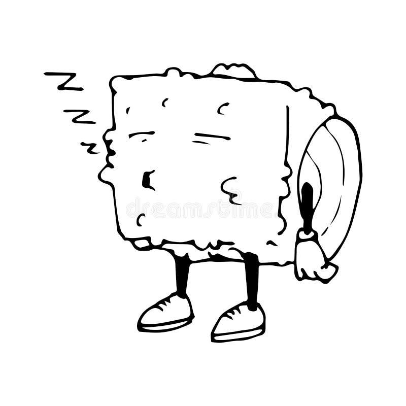Крен характера Шарж эскиза сонно изображение изолированное вектором икона Азиатский ресторан иллюстрация вектора