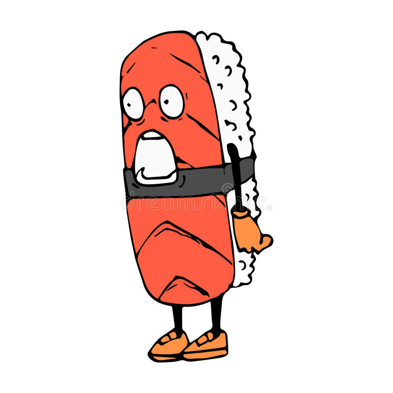 Крен характера Шарж эскиза Сюрприз, удар изображение изолированное вектором икона Азиатский ресторан иллюстрация вектора