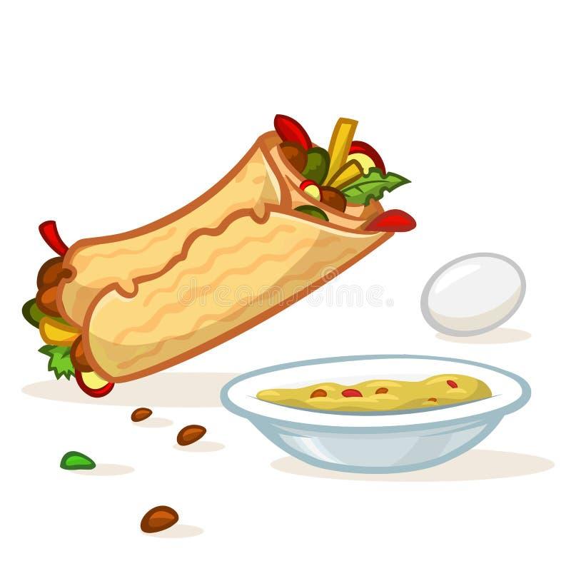 Крен falafel мультфильма, плита с hummus и иллюстрация яйца бесплатная иллюстрация