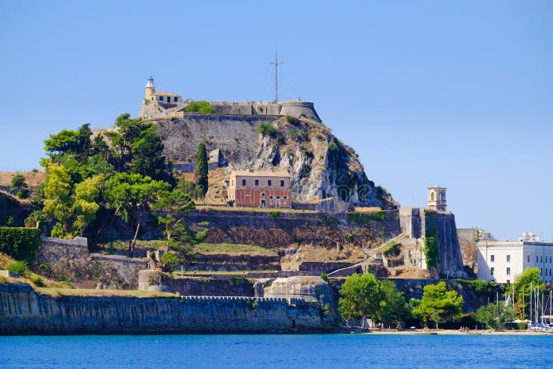 Крепостные стены Корфу как увидено от взгляда моря панорамного стоковое изображение rf