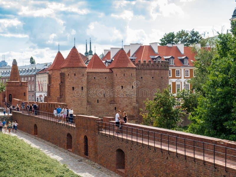 Крепость барбакана Варшавы защитительная города стоковое фото rf