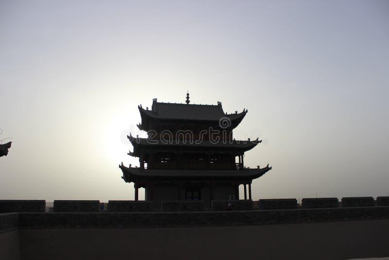 крепость и Великая Китайская Стена jiayuguan стоковые фотографии rf