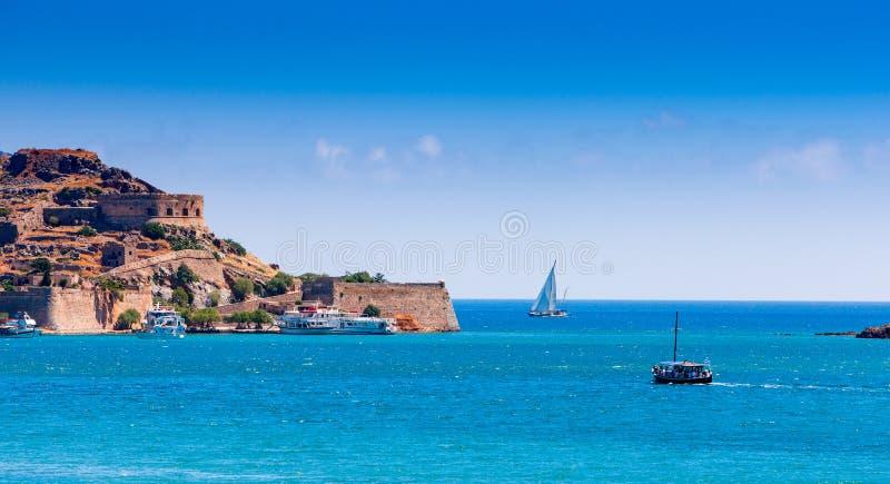 Крепость острова Spinalonga, Крита стоковое изображение