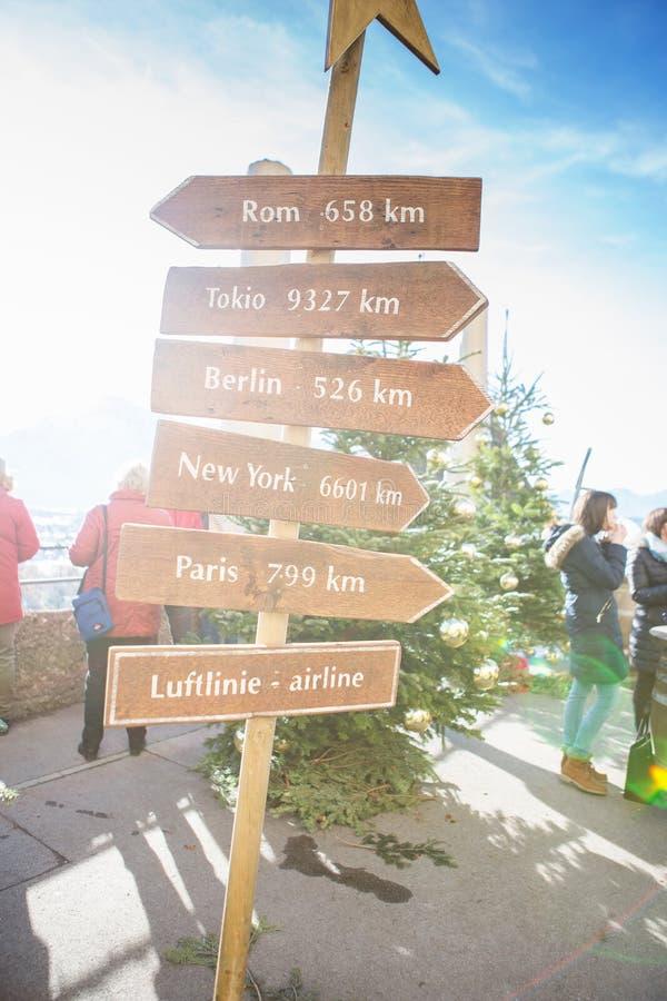 Крепость Hohensalzburg Деревянные стрелки столба указателя на указывать guidepost Указатель показывая путь к столицам стоковое изображение