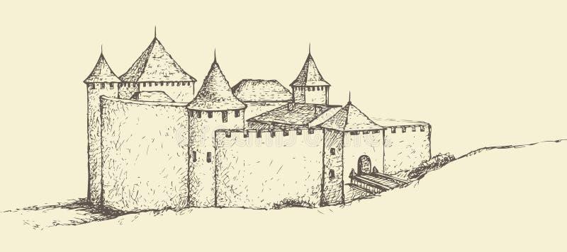 Крепость Khotyn, Украина Эскиз вектора иллюстрация штока