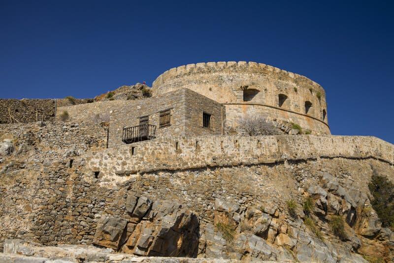 Крепость Spinalonga на острове Крита, Греции стоковая фотография rf