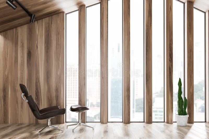 Кресло Брауна в светлой деревянной комнате прожития чердака иллюстрация вектора